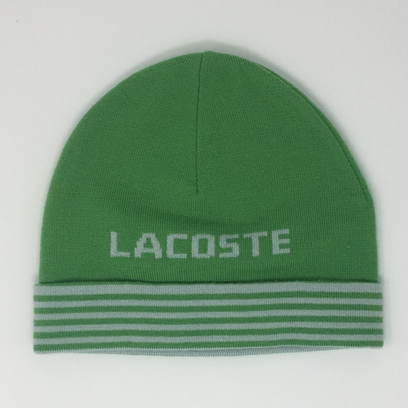 787c8d8262f Lacoste Accessories - Lacoste Green Striped Beanie Toboggan